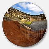 designart mt10741C38IN EL Golfo Lanzarote Spanien Moschus Teich modernes Seascape rund Metall Wand Kunst, Disc, 96,5x 96,5cm blau
