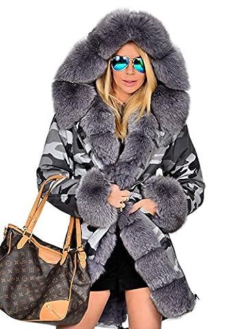 Roiii nouvelle veste femme capuche parka Faux fourrure manteau hiver matelassée ue taille 36-50 (46, Gris)