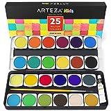 Arteza Kids Estuche de acuarelas para niños | 25 pastillas de colores vivos para pintar con acuarela | Estuche de plástico ligero | Incluye pincel