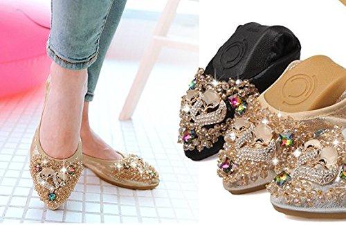 Ohmais Chaussure femme cérémonie Ballerines femme à bride Fête Demoiselle dhonneur Mariage Escarpin plat Or