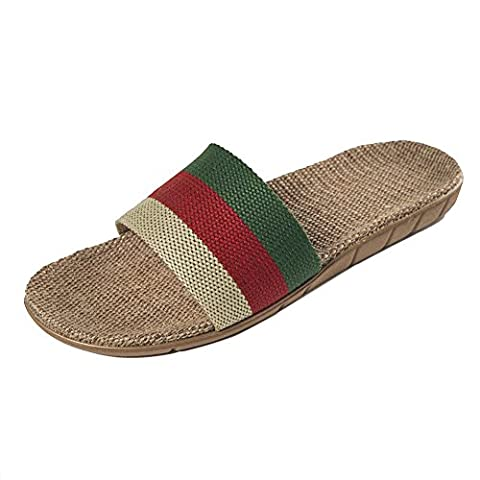 Oriskey Unisex Men's Summer Flax Stripes Linen Skidproof Open-Toes House Indoor Spa Slippers Green