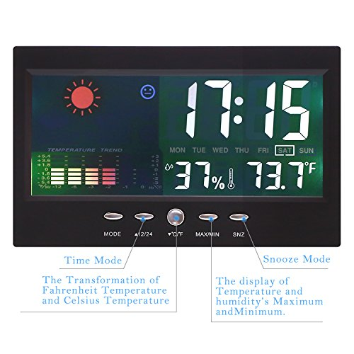 Thinp Estación Meteorológica con Despertador – mide Temperatura y Humedad