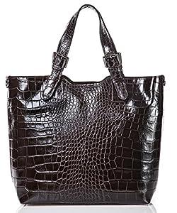italienische Damen Handtasche Lima aus echtem Leder in dunklem schoko braun, Made in Italy, Shopper 31x30 cm