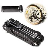 TONYON Fahrradschloss Faltschloss Kombinationsschloss Fahrrad Motorrad mit Rahmenhalterung Schwarz -