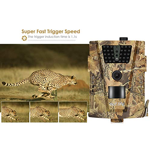 ZYSMC Wildlife Trail Camera, 12MP 1080P HD Hunting Camera PIR120 Degree Infrared LED Night Vision LCD Monitor, Camouflage Reconnaissance Camera, IP54 Wasserdichte Kamera