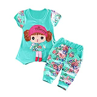 Newborn Infant Baby Girls Cartoon T-Shirt Tops Pants Outfits Clothes Sets 6-24 Month (6 Month, A)