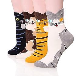 Women's Crew Socks 4 Packs by Ksocks, Fun Cool Cats Dogs Cartoon Sweet Animal Design Cotton Blend