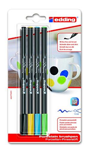 Porzellan-Pinselstift 4200 4 Farben | schwarz gelb blau grün