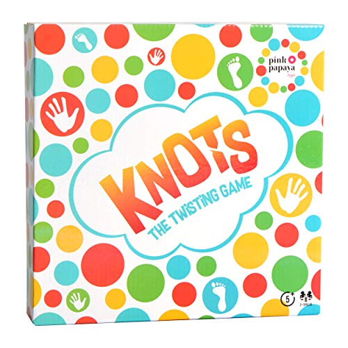 Pink Papaya Gesellschaftsspiel Knots, lustiges Balance-Spiel, Bodenspiel mit Spielmatte, Twisting Game für Kinder & Erwachsene