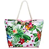 CASPAR TS1055 große Damen XXL Strandtasche/Shopper mit bunten Hawaii Motiven, Farbe:rosa/Palmen & Orchideen;Größe:One Size