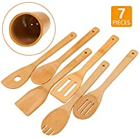 """Bamboo Wooden Spoons & Spatulas Set - 6 Pieces Kitchen Cooking Utensils and 1 Holder 3.15""""x 3.15"""" x 12"""""""