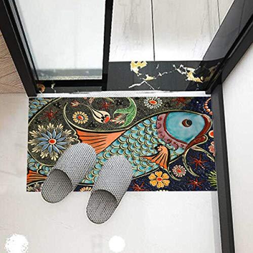 Boden Aufkleber Pvc Nicht, Slip Twill 3D Druck Antike Stickerei Fisch Bad Küche Schlafzimmer Wohnzimmer Diy Dekoration, M_50X90Cm