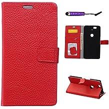 Huawei Nexus 6P Funda, CaseFirst funda de Billetera Flip a prueba de golpes con Estuche Protector de tarjeta completa Cover de cuero para Huawei Nexus 6P (Rojo)