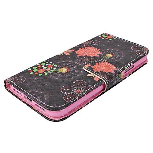 iPhone X Hülle, Asnlove Premium Leder Schutzhülle PU Leder Flip Tasche Case Book Style mit Integrierten Kartensteckplätzen Hängendes Seil und Ständer für Apple iPhone 10 / iPhone X 5.8 Zoll 2017 - Chr Chrysantheme