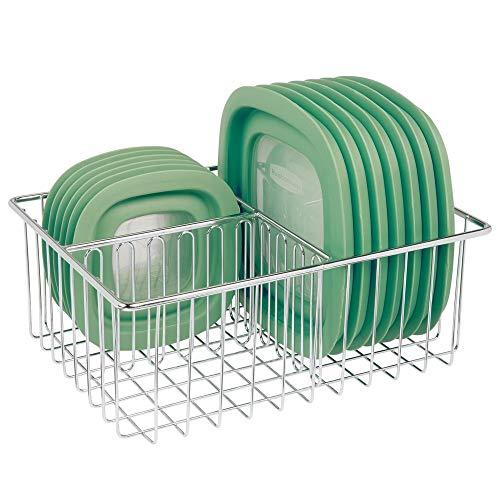 mDesign Deckelhalter - praktischer Küchen Aufbewahrungskorb mit 3 Fächern zur Aufbewahrung von Deckeln - moderner Küchen Organizer für die Speisekammer - silberfarben
