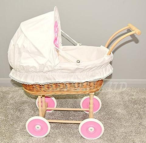Luxury Doll Wicker Buggy/Pram / Dolls Buggy/ Pram/ Stroller /toy/Vintage Style (White)