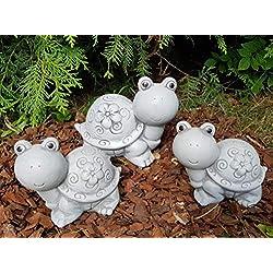 3-Set niedliche Schildkröten mit Blumenkleid Steinfigur frostfest Deko Garten Balkon
