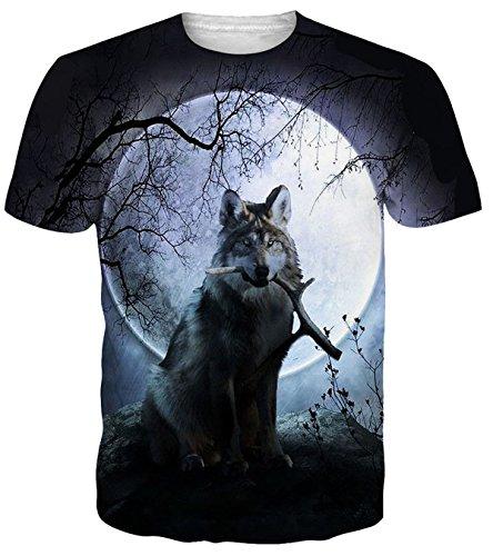 Adicreat Herren Frauen Wolf Mond Sommer Cool Kurzarm Atmungsaktiv Beiläufige T-Shirt ()
