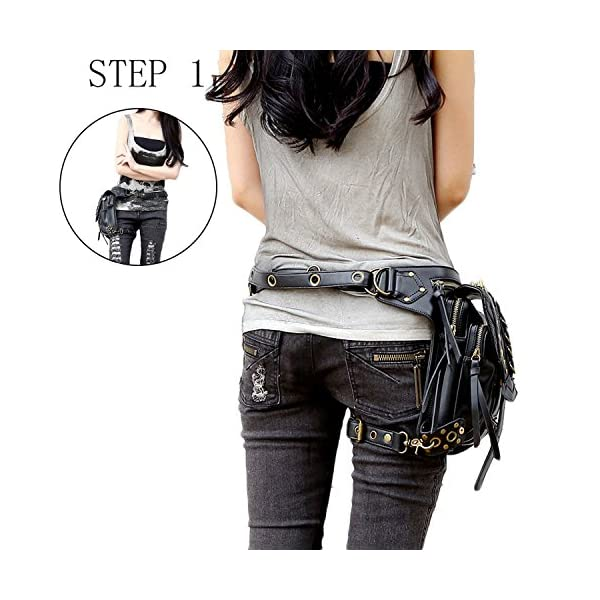 Steampunk Bag Steam Punk Retro Rock Gothic Goth Shoulder Waist Bags Packs Victorian Style for Women Men + Leg Thigh Holster Bag DM201605 100% Brand New and High Quality. Adjustable belt design for better fitting body Material : Leather ( PU Leather) Durable material and workmanship to withstand daily wear & tear. 2