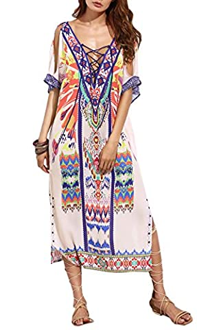 KE1AIP Womens Boho Loose Beach Maxi Robe sans bretelles Summer Print Floral Dresses (Multicoloured)