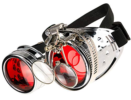 MFAZ Morefaz Ltd Schutzbrille Schweißen Sonnenbrille Welding Cyber Goggles Steampunk Goth Round Cosplay Brille Party Fancy Dress (Silver Loupe)