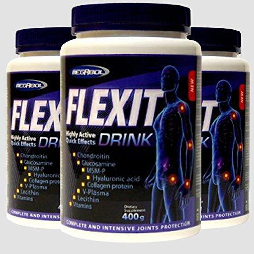 3x FLEXIT DRINK = 1200g Pulver | hochdosierte Gelenk-Komplex Formel | Glucosamin – Chondroitin – MSM – Kollagen – Hyaluronsäure – Gelenk – Knorpelschutz | für Jung und Alt