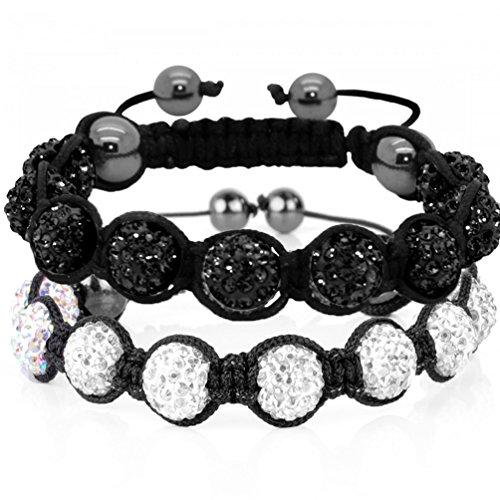 Armband Lot 2Crystal Ball schwarz und Champagner 9Disco Kugeln Viel 22Armband Kristall klar und Schwarz