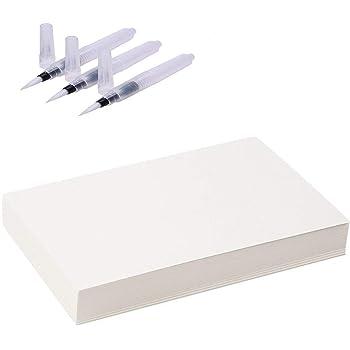 BUWANT bianco 100% cotone Cold Press 100 fogli per acquerelli e pennello penne 3 pezzi