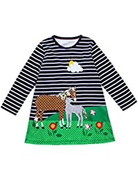 JERFER Baby Kleinkind-Mädchen Langarm Herbst Karikatur Streifen Prinzessin Kleid 1-6T
