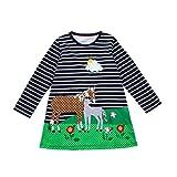 JERFER Baby Kleinkind-Mädchen Langarm Herbst Karikatur Streifen Prinzessin Kleid 1-6T (6T, Marine1)