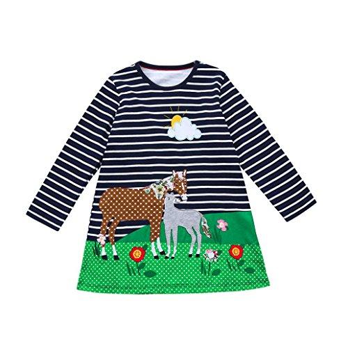 JERFER Baby Kleinkind-Mädchen Langarm Herbst Karikatur Streifen Prinzessin Kleid 1-6T (5T, Marine1) (Mädchen Kleid)