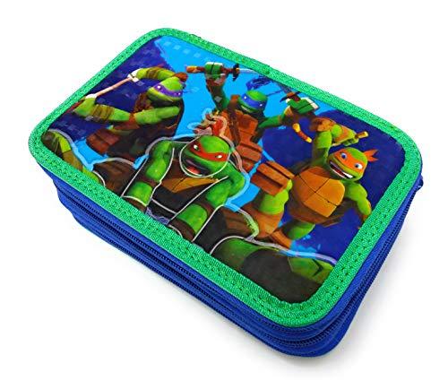 Tartarughe ninja - astuccio scuola 3 zip ninja turtles - completo di 44 pezzi