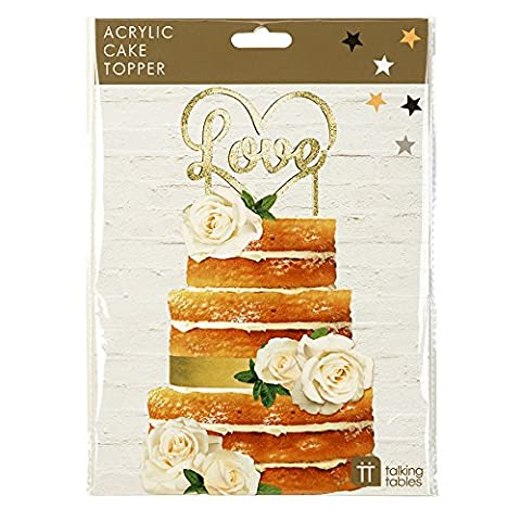 Talking Tables Cake Topper Party Decorations, Plastic, Gold, 15 x