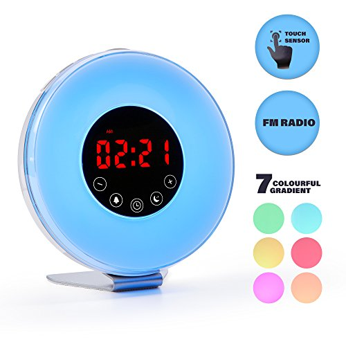 Wake Up Wecker von Leto SF: Sunrise/Dawn Simulation Digital Alarm clock| LED Display Night light| 7 wechselnden Farben Touch Control Schlummerfunktion FM Radio, Nature Sounds für natürliches Wake Up