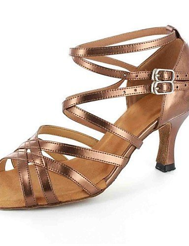 ShangYi sandales femmes latines personnalisées talon avec des chaussures de danse de buckie (plus de couleurs) Brown