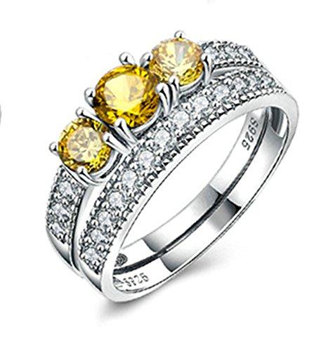 Anazoz s925 argento giallo zirconia cubica donna 3pcs matrimonio bande anello di fidanzamento set misura 12