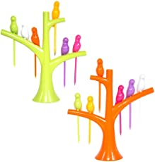 KNK Fruit Forks of Bird Shape Set of 6 with Stand (Multi Color)