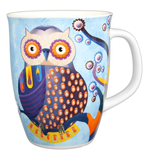 Kaffeebecher Eule aus Prozellan Cappuccinotasse Kaffeebecher Trinkbecher Teetasse Tee Tasse Mug Becher Blau - 340ml
