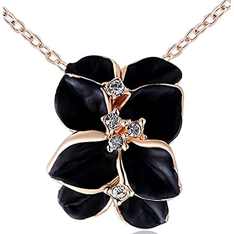 SaySure–14K chapado en oro Cristales Stellux Rose Golden negro Rose