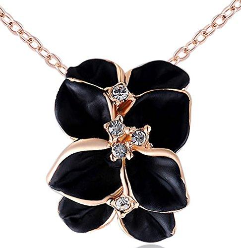 SaySure - 14K Gold Plated Stellux Crystals rose golden black rose