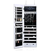 iKayaa Joyero Colgante con Espejo Grande de Maquillaje, Organizar los Joyerías Colgante a la Pared Puerta con 6 Luz LED Color Blanco