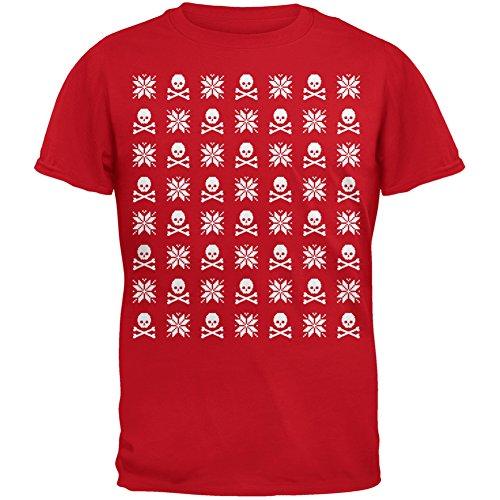 Schädel und gekreuzten Knochen Schneeflocke hässlich Christmas Sweater rot Erwachsenen T-Shirt Red