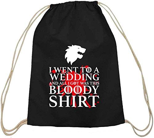 Shirtstreet24, Bloody Shirt, Baumwoll natur Turnbeutel Rucksack Sport Beutel schwarz natur