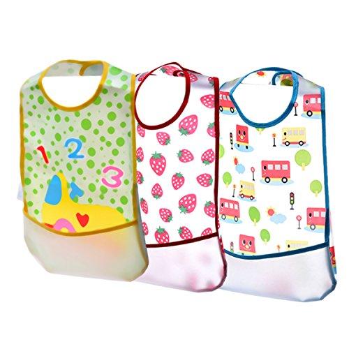 Blulu Baberos Impermeables de Bebés con Bolsillo de Receptor de Alimentos, 3 Paquetes