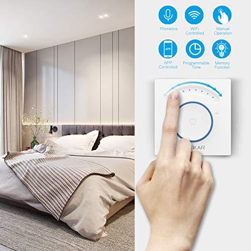 TEEKAR [Upgraded] Smart Dimmer Schalter Kompatibel Mit Alexa/Google Home, Timing-Funktion, APP Fernbedienung, WLAN Berühren Lichtschalter AC 110-240 V Für LED INC CFL -Neutralleitung Erforderlich