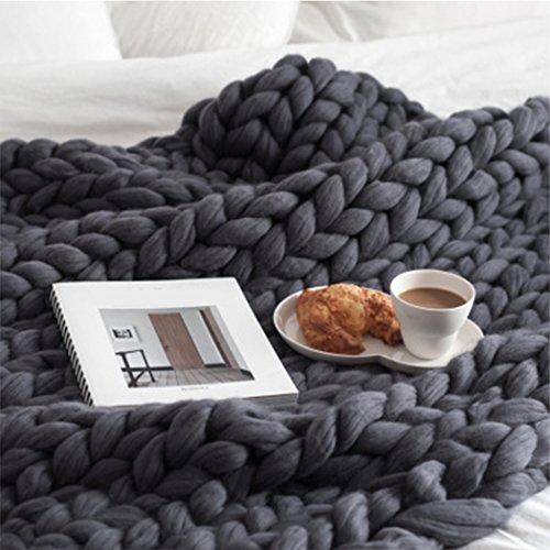 Raylans Manta de Punto Grueso Hecha a Mano, Suave para Tejer, Manta de Cama voluminosa para sofá o Mascota, Manta para Decoración de Dormitorio