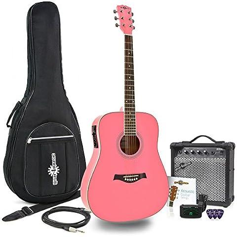 Guitarra Electroacústica Dreadnought + Pack Ampli 15W Rosa