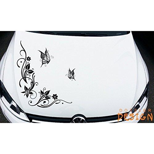 DD Dotzler Design - Autoaufkleber Wandtattoo - 041215 - Schmetterling Blumenranke ca 62 x 58 cm Blume Auto Aufkleber Tuning Ranke Butterfly Motorhaube Heckscheibe