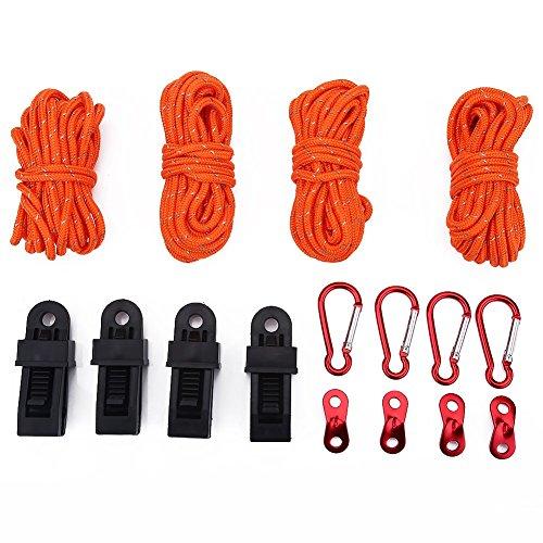 Kit para Camping - Estacas de Tienda de Campaña + Tensores + Cuerdas Reflectantes + Mosquetones + Clips Accesorios de Tienda