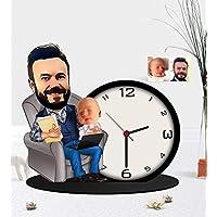 Kişiye Özel Baba Oğul Karikatürlü Ahşap Biblo Masa Saati-1